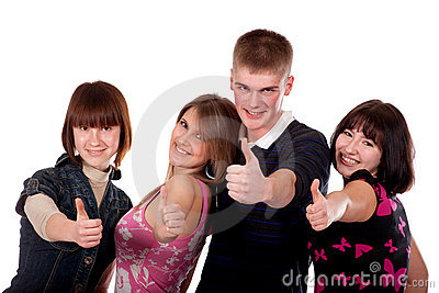Group of happy teens showing OK