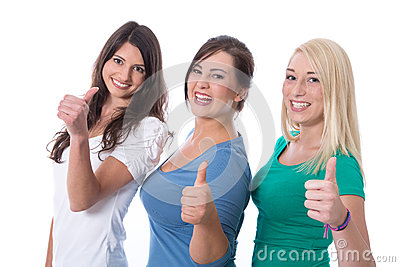 Group of happy trainees girls in first jobs with thumbs up isola