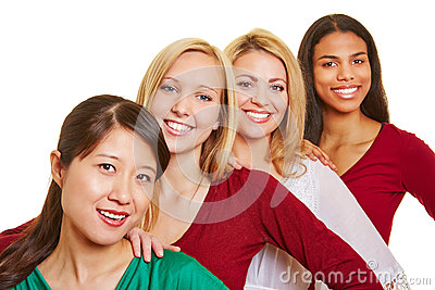 Group of happy women in a row