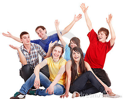 Group of happy young people with hand up.