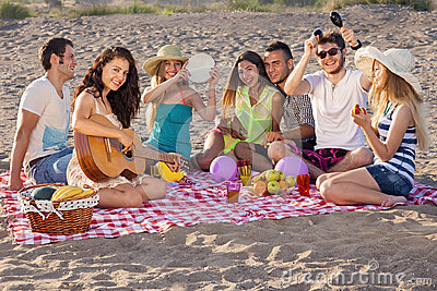 Group of happy young people having a picnic on the beach