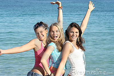group of happy youth on spring break