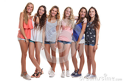 Group Of Healthy Tanned Smiling Summer Teenagers Stock