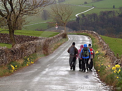 Group Hiking on a Wet Day