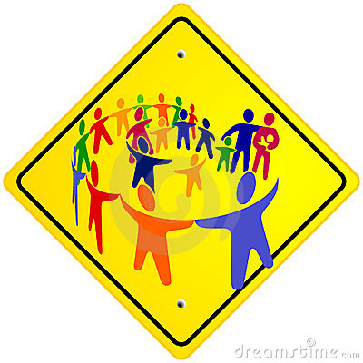 Group of humans, sign