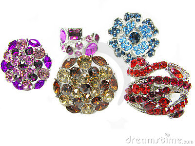 Group of jewelry ring with bright crystals
