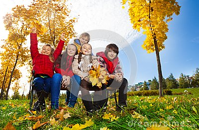 Group of kid in the autumn park