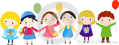 Group of kids and balloon