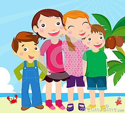 Group of kids on beach