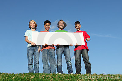 Group of kids with blank sign