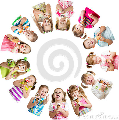 Group of kids or children eat ice-cream in circle