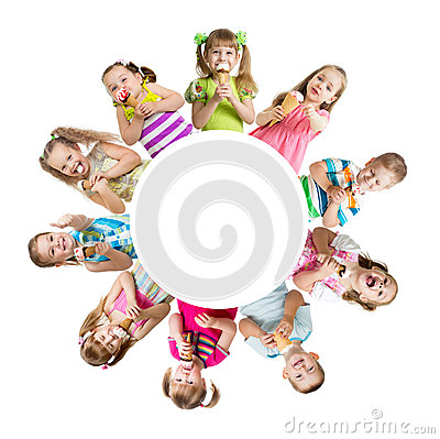 Group of kids or children eating ice cream