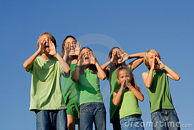Group of kids , children shouting