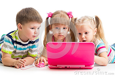Group of kids friends at the laptop