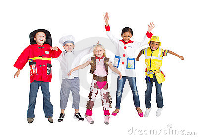 Group kids jumping