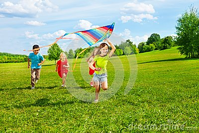 Group of kids with kite