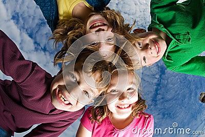 Group of Kids looking down