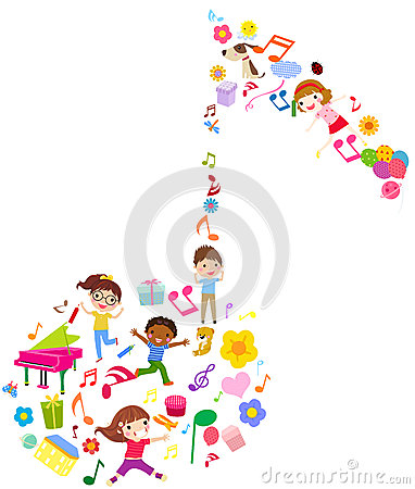 Group of kids and music