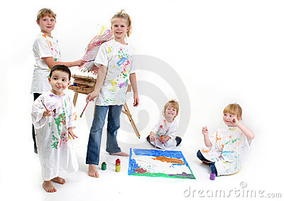Group of Kids Painting
