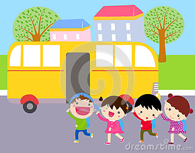 Group of kids and school bus