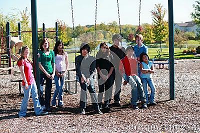 Group of kids on swingset