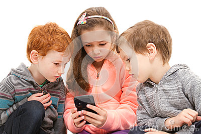 Group of kids using smartphone