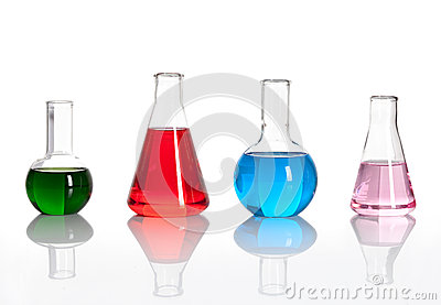 Group of laboratory flasks with a colored liqiuds