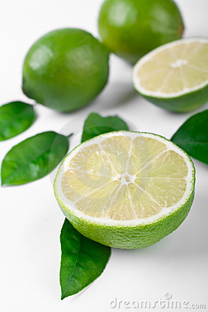 Group of limes with leaves