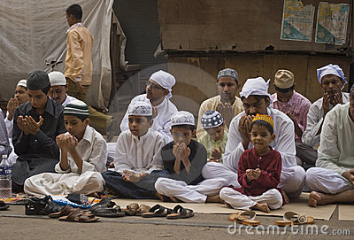 A group of little boys at Eid prayer Editorial Stock Image