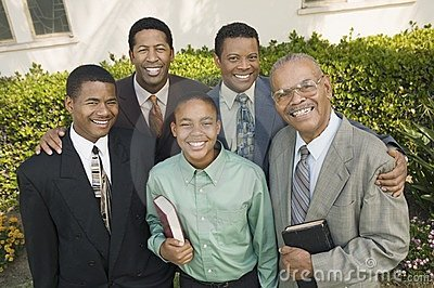 Group of male churchgoers