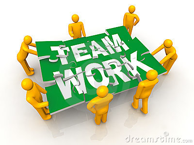 Group of man assembling Team Work puzzle
