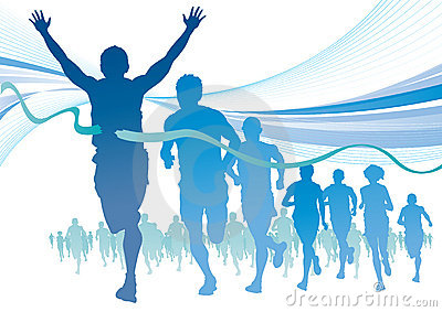 Group of Marathon Runners on abstract swirl backgr