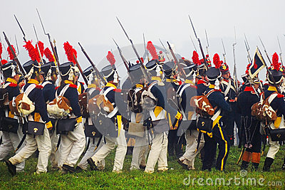 A group of marching men Editorial Stock Photo