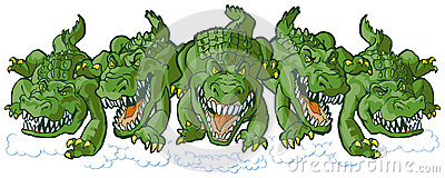 Group of Mean Alligator Cartoon Mascots Charging Forward Vector Illustration