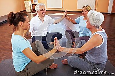 Group meditating in circle