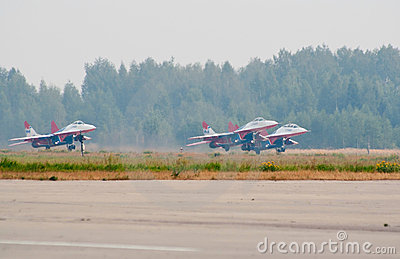 Group of MiG-29 s taking off Editorial Stock Photo