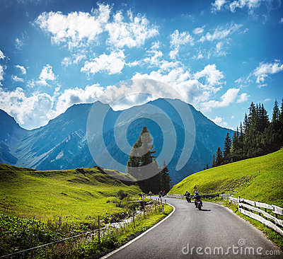 Group of motorbikers in the mountains