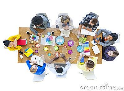 Group of Multiethnic Designers Meeting Social Media Stock Photo
