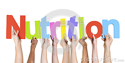 Group of Multiethnic Hands Holding Nutrition Stock Photo