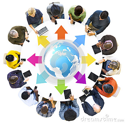 Group of Multiethnic People Globally Connected with Digital Devices Stock Photo
