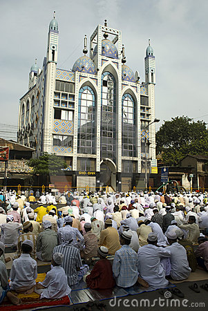 A group of Muslim man at the Eid prayer at Kolkata Editorial Image
