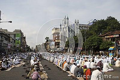 A group of Muslim man at the Eid prayer at Kolkata Editorial Stock Photo