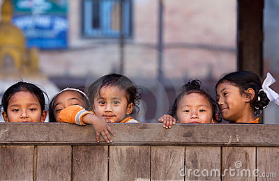 Group of Nepalese children Editorial Stock Photo
