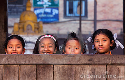 Group of nepalese schoolgirl Editorial Photography