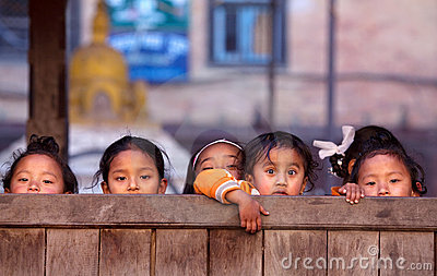 Group of nepalese schoolgirl Editorial Image