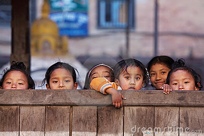 Group of Nepalese schoolgirl Editorial Stock Image