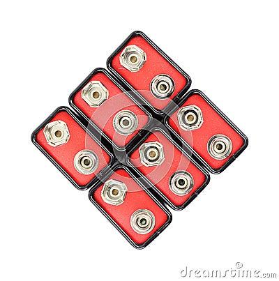 Group of nine volt batteries