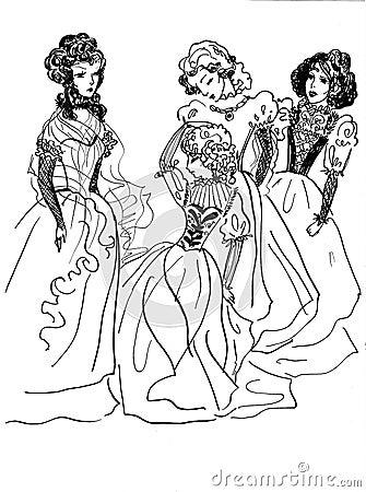 Group of noble ladies