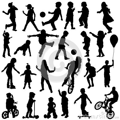 Free Group Of Active Children, Hand Drawn Sillhouettes Of Kids Playin Stock Photography - 45590102
