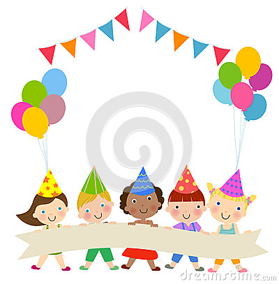 Free Group Of Children And Birthday Party Stock Image - 52033221